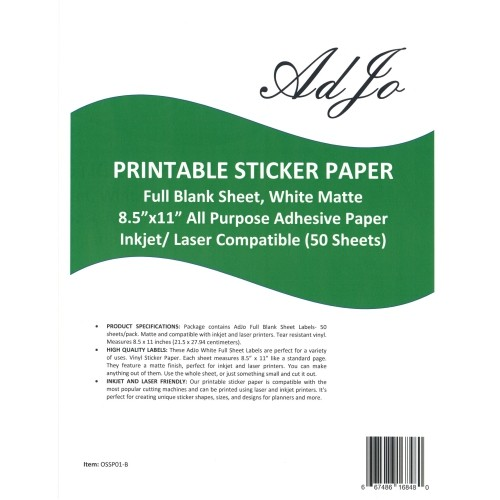 image regarding Sticker Printable Paper called AdJo 50 Sheets/Pack Printable All Motive Sticker Paper, White Matte 8.5\