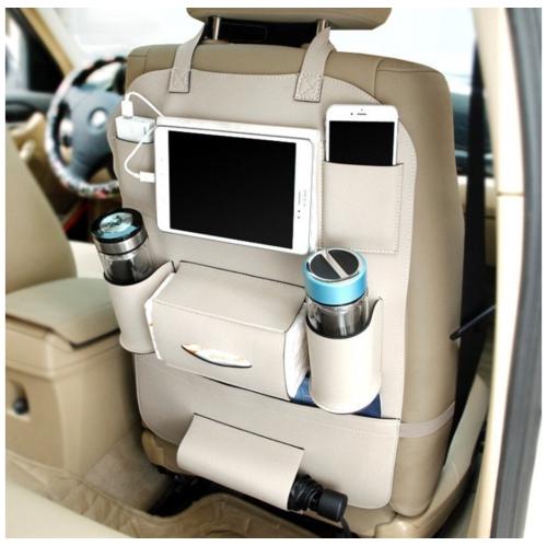 Adjo Beige Car Back Seat Organizer And Ipad Mini Holder Storage Bottles Tissue Box And Toys Holder
