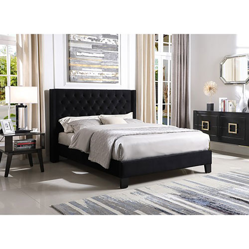 Jia Contemporary Bed   Queen   Black