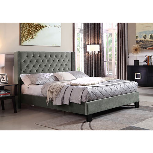 Jia Contemporary Bed   Queen   Grey
