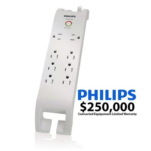 Protecteur de surtension à 8 prises Philips avec gestion du cordon d'alimentation de 3pi (SPP4068D/17)