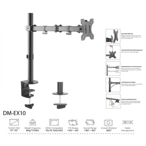 Boost Industries Universal DM-EX10 Articulating Single Monitor Desktop  Mount (for Screens 13
