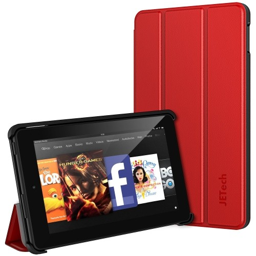 Fire 7 Case, JETech Protective Standing Case Cover for Amazon Fire 7 Tablet (2015 Released 5th Generation) (Red) - 3410B