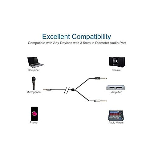 Copper/Shell / 3 Feet 3.5mm 1//8 TRS Female to 2 X 3.5mm 1//8 TS Male Stereo Audio Adapter Cable J/&D Gold Plated Heavy/Duty