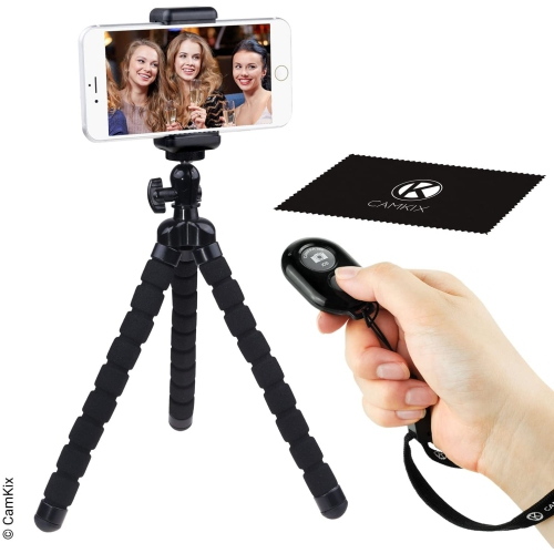 Flexible Cell Phone Tripod And Bluetooth Remote Control