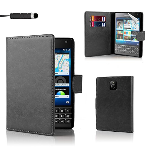 32nd Book wallet PU leather flip case cover for BlackBerry Passport - Black