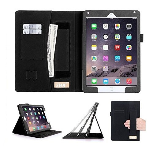 [Luxurious Protection] iPad Air 2 Case Cover, FYY Premium Leather Case Stand Cover with Card Slots, Pocket, Elastic Hand Strap