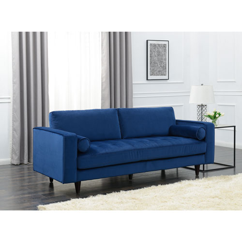 Yazmin Velvet Sofa   Blue