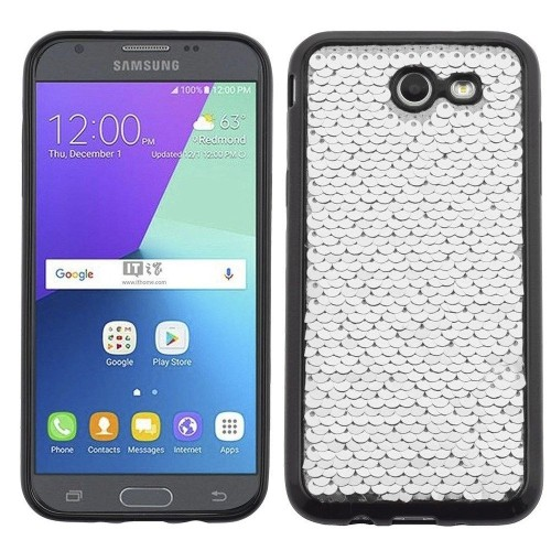 Insten Sparkling Sequin TPU Case For Samsung Galaxy J3 (2017)/J3 Eclipse/J3 Mission, Silver