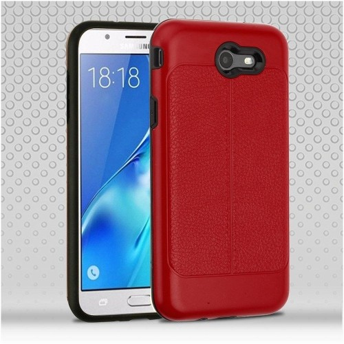 Insten Hard Hybrid Leatherette Case For Samsung Galaxy Halo/J7 (2017)/J7 Prime/J7 V, Red/Black