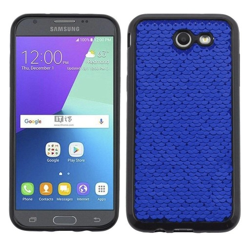 Insten Sparkling Sequin Gel Case For Samsung Galaxy J3 (2017)/J3 Eclipse/J3 Emerge/J3 Mission, Blue