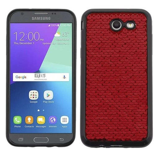 Insten Sparkling Sequin Rubber Case For Samsung Galaxy J3 (2017)/J3 Eclipse/J3 Mission, Red