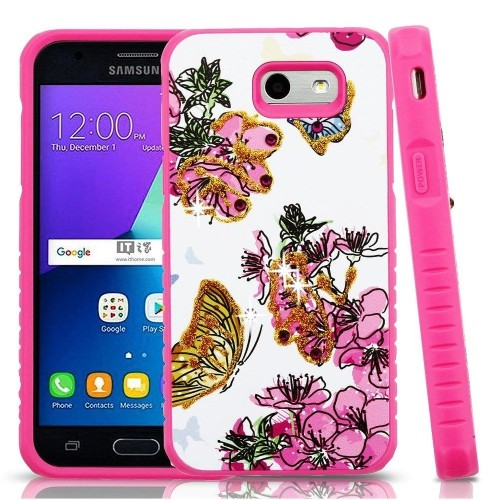 Insten Butterflies Hard Case For Samsung Galaxy J3 (2017)/J3 Eclipse/J3 Emerge/J3 Mission