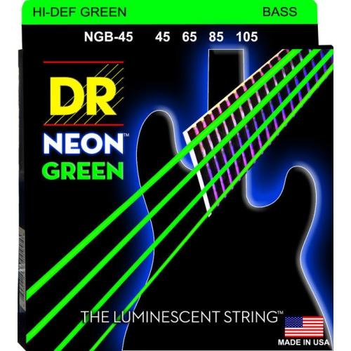 DR Strings NGB-45 NEON Hi-Def Green Coated Bass Strings - Medium, 45-105