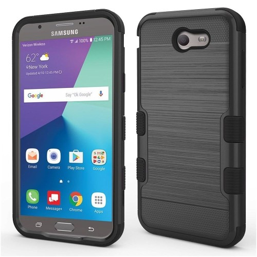 Insten Hard Dual Layer Brushed TPU Case For Samsung Galaxy Halo/J7 (2017)/J7 Perx, Black