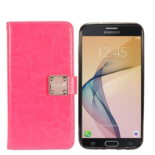 Insten Detachable Magnetic Flip Leather Case For Samsung Galaxy Halo/J7 (2017)/J7 Perx, Hot Pink