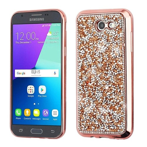 Insten Crystal Rhinestone Rubber Case For Samsung Galaxy Amp Prime 2/J3 (2017)/J3 Eclipse, Rose Gold