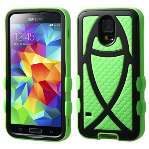 Insten Ichthys Christian Fish Hard Hybrid Silicone Case For Samsung Galaxy S5, Neon Green/Black