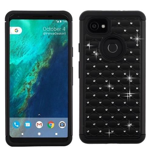 Insten Full Star Hard Dual Layer Plastic TPU Cover Case w/Diamond For Google Pixel 2 XL, Black
