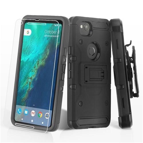 Insten 3-in-1 Kinetic Hard Hybrid Plastic TPU Case w/stand/Holster/Bundled For Google Pixel 2, Black