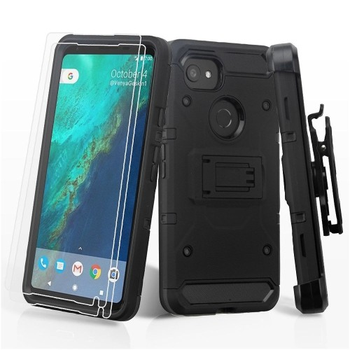 Insten 3-in-1 Kinetic Hard Hybrid Plastic TPU Case w/stand/Holster For Google Pixel 2 XL, Black