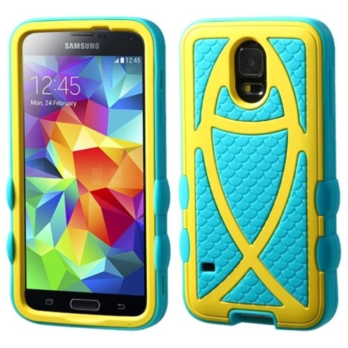 Insten Ichthys Christian Fish Hard Dual Layer Silicone Case For Samsung Galaxy S5, Turquoise/Yellow