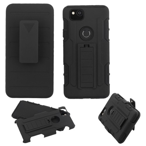 Insten Advanced Armor Hard Dual Layer Plastic TPU Case w/stand/Holster For Google Pixel 2, Black