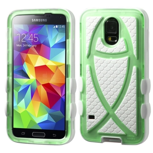 Insten Ichthys Christian Fish Hard Dual Layer Silicone Case For Samsung Galaxy S5, White/Light Green