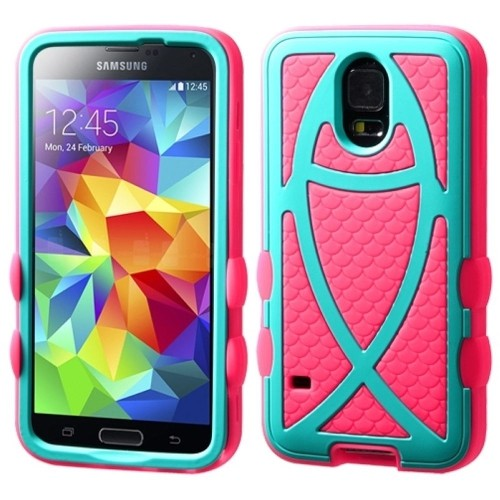 Insten Ichthys Christian Fish Hard Hybrid Silicone Case For Samsung Galaxy S5, Hot Pink/Turquoise