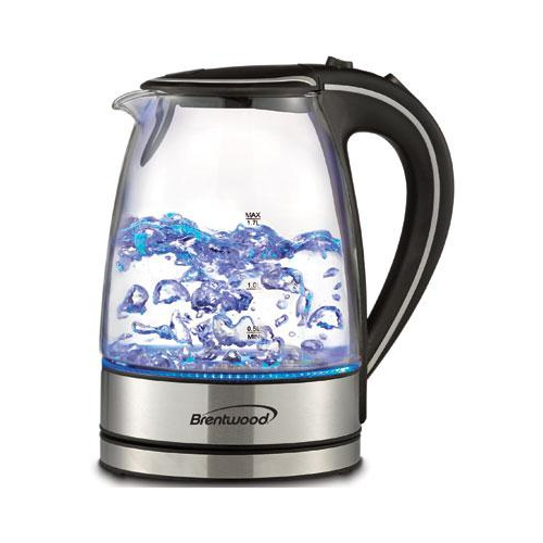 Brentwood 1.7L Cordless Glass Electric Kettle, Black