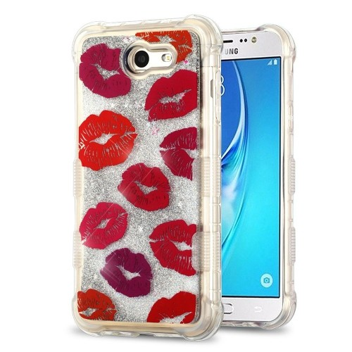 Insten Quicksand Glitter Blissful Kisses Hard Cover Case For Samsung Galaxy J7 (2017)/J7 V, Red