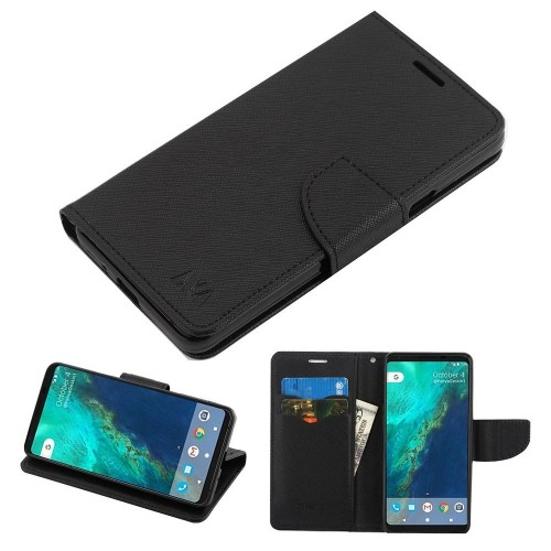 Insten MyJacket Book-Style Leather Fabric Cover Case w/stand/card holder For Google Pixel 2, Black