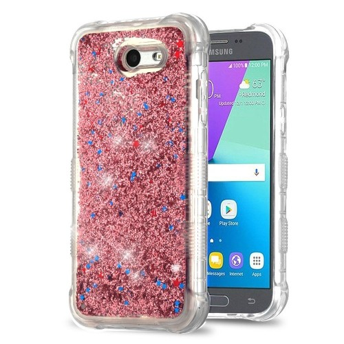 Insten Quicksand Glitter Hard Cover Case For Samsung Galaxy J3 (2017)/J3 Eclipse, Rose Gold