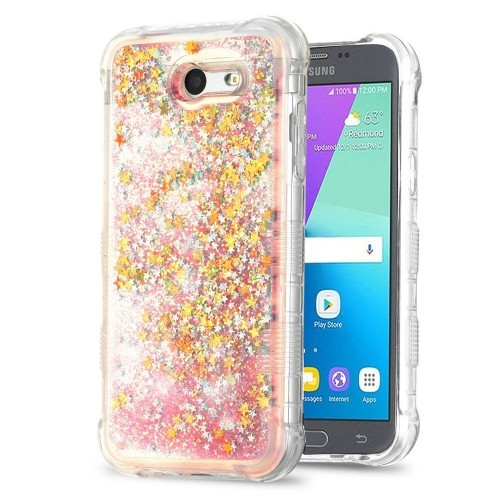 Insten Quicksand Glitter Stars Hard Case For Samsung Galaxy J3 (2017)/J3 Eclipse, Multi-Color