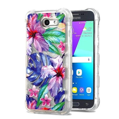 Insten Quicksand Glitter Hibiscus Hard Case For Samsung Galaxy J3 (2017)/J3 Eclipse, Multi-Color
