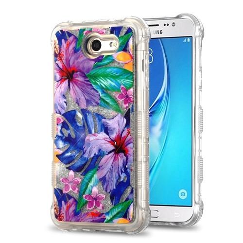 Insten Quicksand Glitter Watercolor Hibiscus Hard Case For Samsung Galaxy J7 (2017)/J7 V, MultiColor