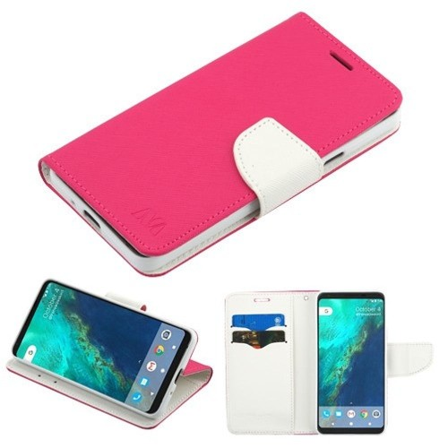 Insten MyJacket Flip Leather Fabric Case w/stand/card holder For Google Pixel 2, Hot Pink/White