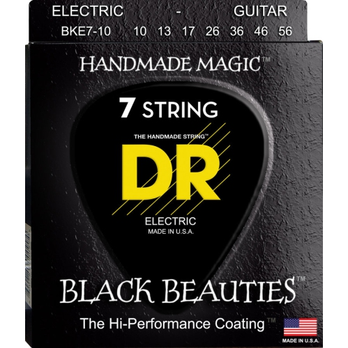 DR Strings BKE7-10 Black K3 Coated 7-String Electric Strings - Medium, 10-56
