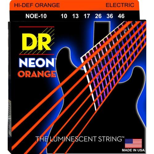 DR Strings NOE-10 NEON Hi-Def Orange Coated Electric Strings - Medium, 10-46
