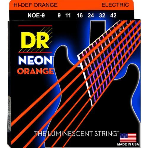 DR Strings NOE-9 NEON Hi-Def Orange Coated Electric Strings - Lite, 9-42