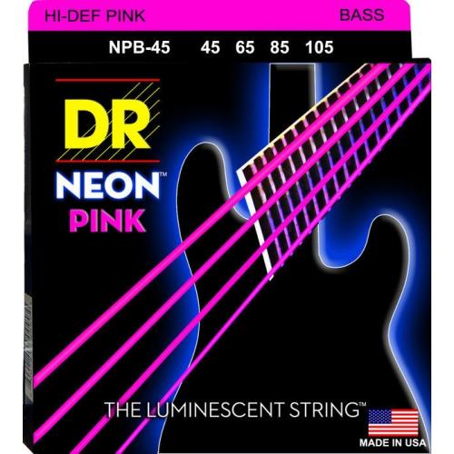 DR Strings NPB-45 NEON Hi-Def Pink Coated Bass Strings - Medium, 45-105