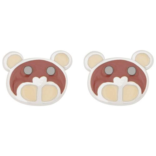 Kids Bear Stud Earrings in Sterling Silver/Enamel