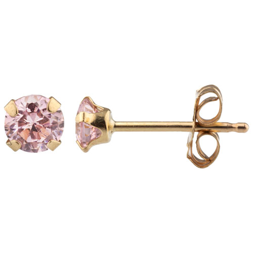 Kids Stud Earrings in 10K Yellow Gold with Pink Cubic Zirconia