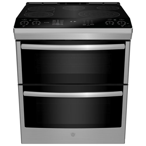 ge profile 30 double oven 5 element slide in smooth top electric range pcs980smss stainless. Black Bedroom Furniture Sets. Home Design Ideas