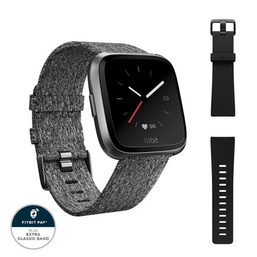 baf7729269a9 Fitbit Versa Smartwatch with Heart Rate Monitor - Charcoal Woven    Smartwatches - Best Buy Canada
