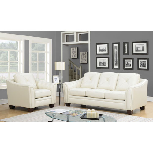 Bilateral Genuine Leather Sofa Ivory Best Buy Canada