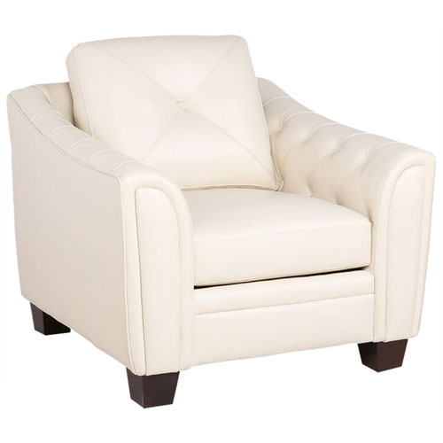 Magnificent Bilateral Genuine Leather Tufted Accent Chair Ivory Ncnpc Chair Design For Home Ncnpcorg