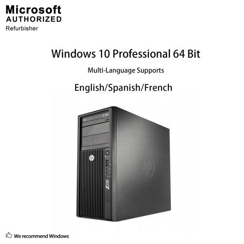 HP Z220 Tower, Intel CI7-3770 3 4GHz,8G,240G SSD, DVD-ROM, Quadro NVS 450,  4xDP TO DVI Adaptor, WIN 10 Pro (EN/FR)-Refurbished