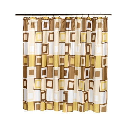 Carnation Home Fashions Contempo Extra Wide Polyester Fabric Shower Curtain 108 X 72