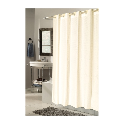 Carnation Home Fashions Checks Pattern Ez On Fabric Shower Curtain With Built Hooks Extra Long 70W X 84L